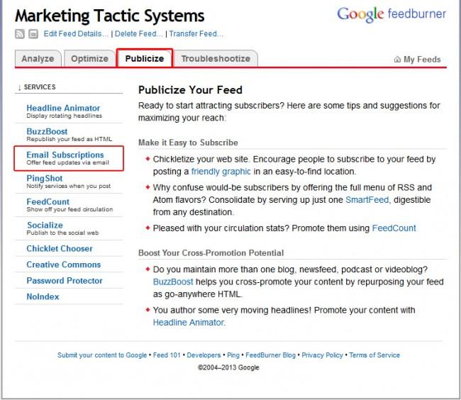 feedburner email setup