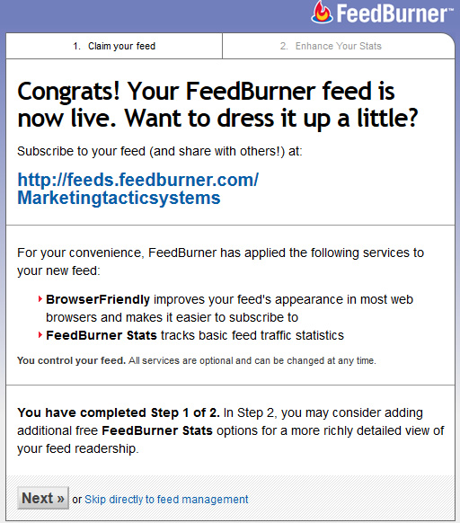 feedburner login setup2